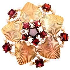 Tiffany & Co. Retro Gold Garnet & Pearl Pin
