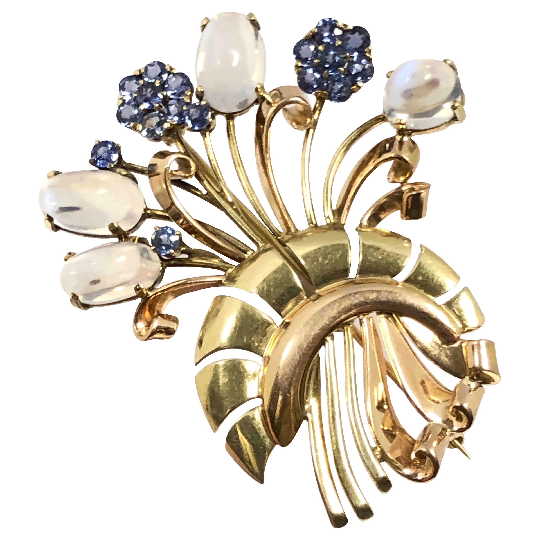 Tiffany & Co. Retro Gold Moonstone and Sapphire Brooch