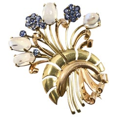 Tiffany & Co. Retro Gold Moonstone and Sapphire Brooch