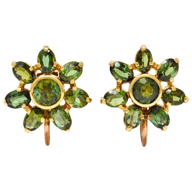 Tiffany & Co. tourmaline and gold earrings, 1940s, offered by Wilson's Estate Jewelry