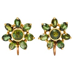 Tiffany & Co. Retro Green Tourmaline 14 Karat Gold Flower Screwback Earrings