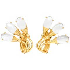 Tiffany & Co. Retro Moonstone Cattail Ear-Clip Earrings
