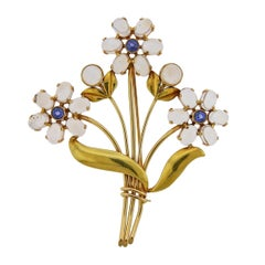 Tiffany & Co. Retro Moonstone Sapphire Gold Flower Brooch Pin