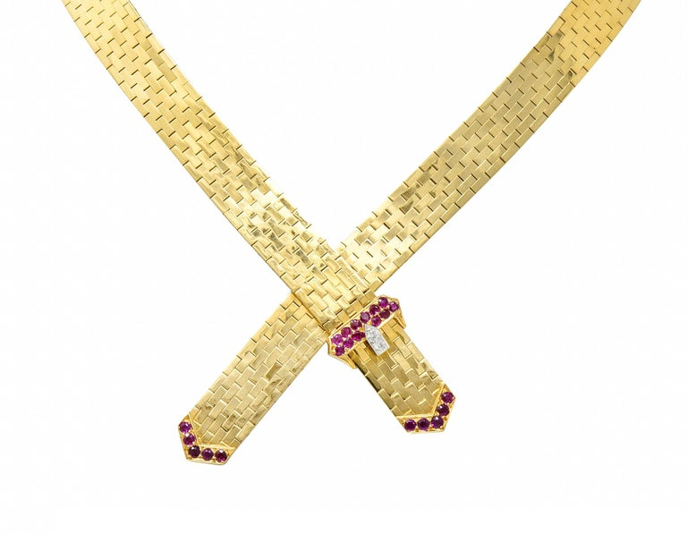 Tiffany & Co. Retro Ruby Diamond 14 Karat Gold Buckle Collar Necklace For Sale 5
