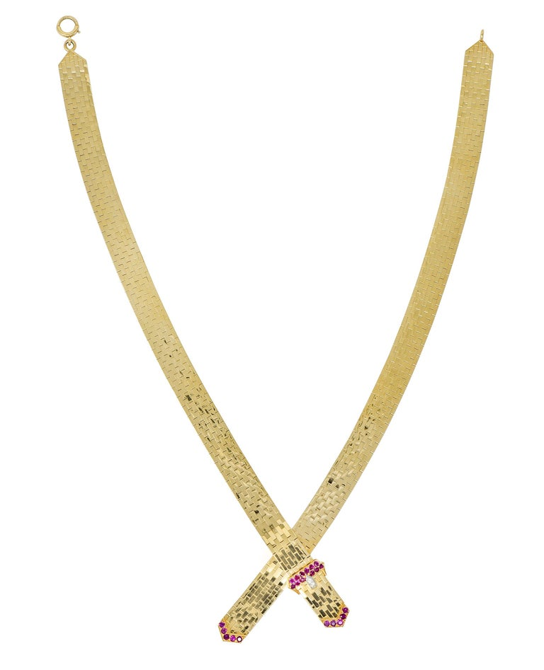 Tiffany & Co. Retro Ruby Diamond 14 Karat Gold Buckle Collar Necklace For Sale 6