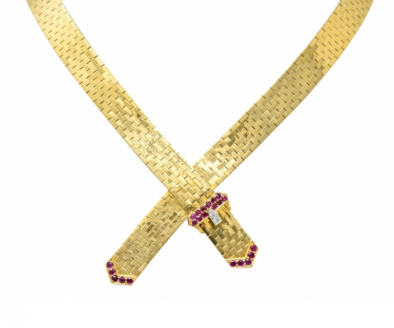 Brilliant Cut Tiffany & Co. Retro Ruby Diamond 14 Karat Gold Buckle Collar Necklace For Sale