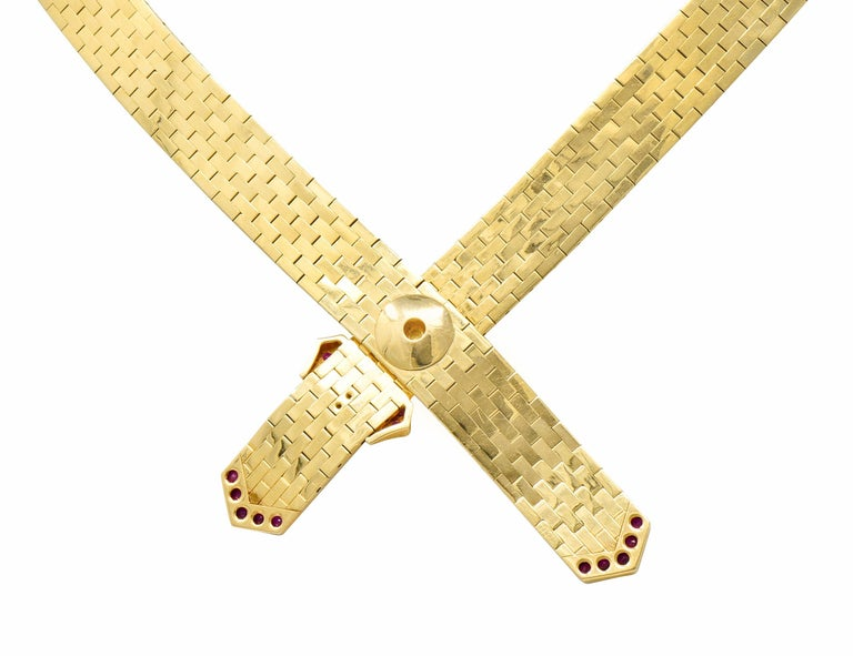 Tiffany & Co. Retro Ruby Diamond 14 Karat Gold Buckle Collar Necklace In Excellent Condition For Sale In Philadelphia, PA