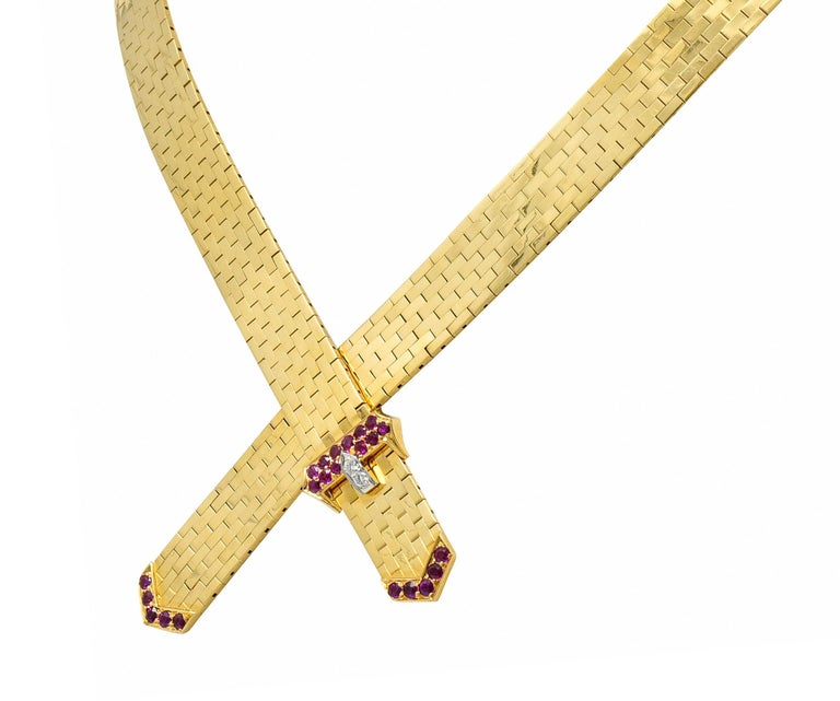 Women's or Men's Tiffany & Co. Retro Ruby Diamond 14 Karat Gold Buckle Collar Necklace For Sale