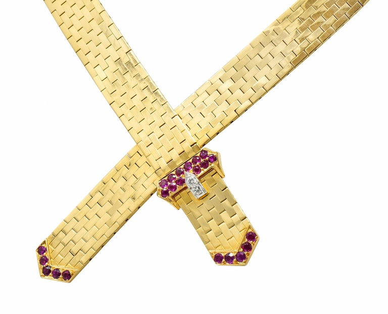 Tiffany & Co. Retro Ruby Diamond 14 Karat Gold Buckle Collar Necklace For Sale 1