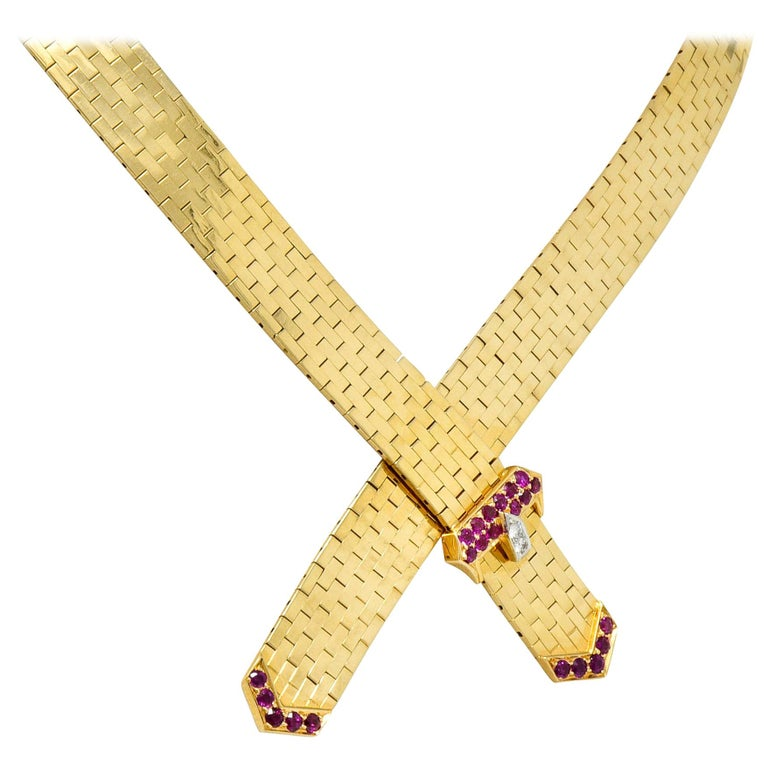 Tiffany & Co. Retro Ruby Diamond 14 Karat Gold Buckle Collar Necklace For Sale