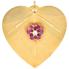 Tiffany & Co. Retro Ruby Diamond 14 Karat Gold Oversized Heart Pendant