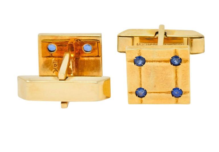 Tiffany & Co. Retro Sapphire 14 Karat Yellow Gold Men's Dress Set, circa 1940 For Sale 4