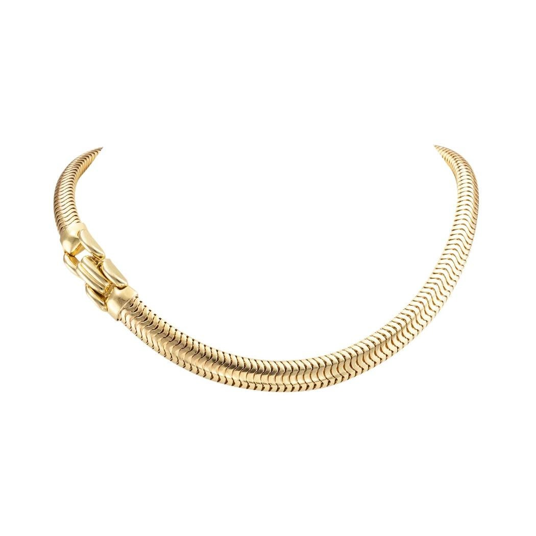 Tiffany & Co. Retro Snake Chain Yellow Gold Necklace