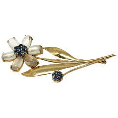 Tiffany & Co. Retro Yellow Gold Moonstone Sapphire Flower Brooch Pin