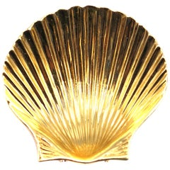 Tiffany & Co. Retro Yellow Gold Seashell Clip Brooch