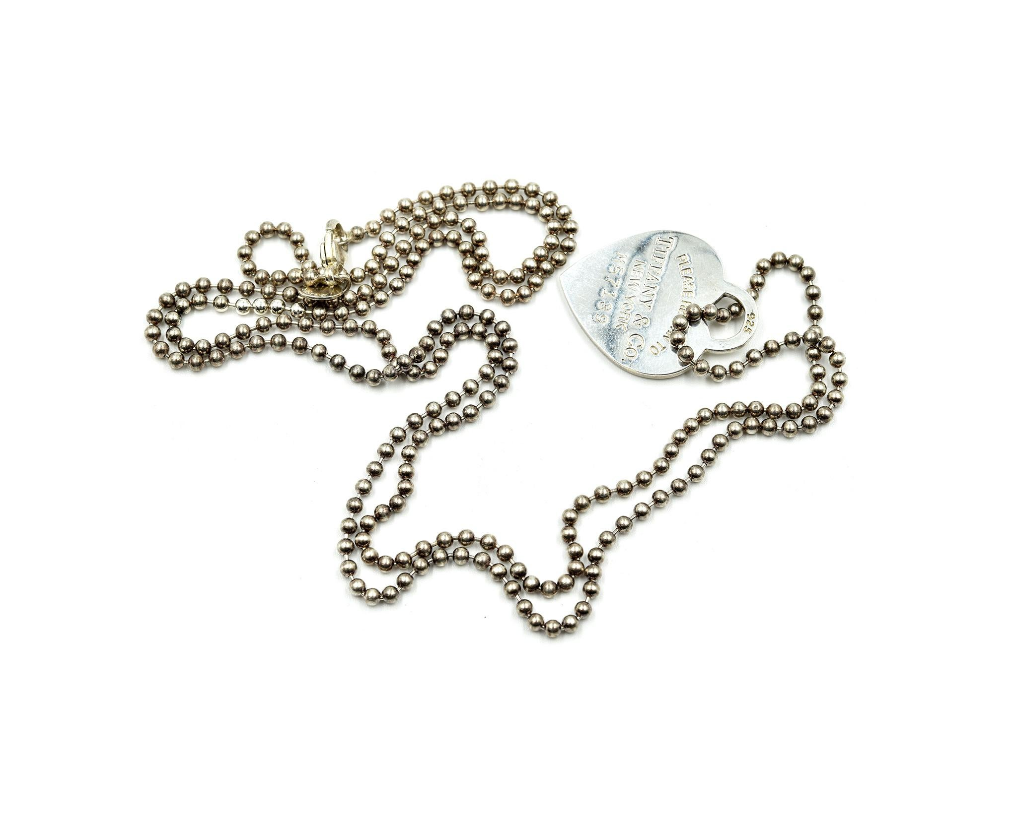 4d421e0d3fc6 Tiffany and Co Return to Tiffany Heart Pendant on Bead Sterling Silver  Necklace at 1stdibs