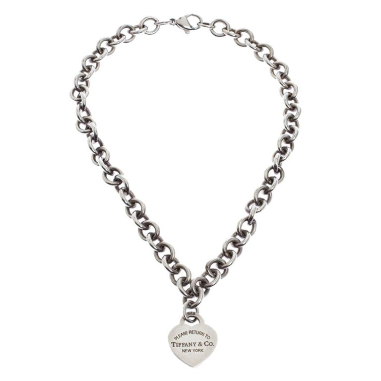 Tiffany And Co Return To Tiffany Heart Tag Silver Chain Link Necklace For Sale At 1stdibs