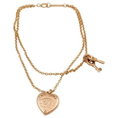 Tiffany & Co. 'Return to Tiffany' Rose Gold Love Heart Tag Key Bracelet