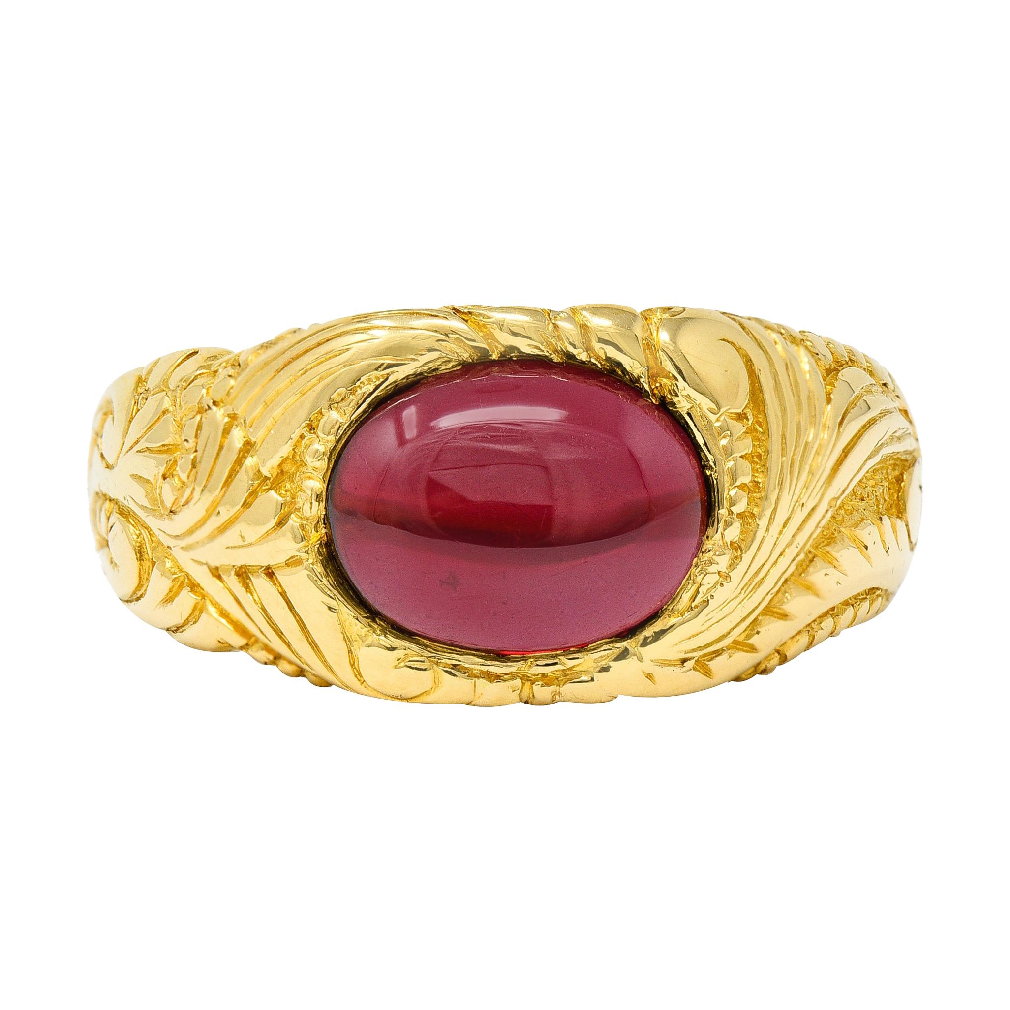 Tiffany & Co. Rhodolite Garnet Cabochon 18 Karat Gold Art Nouveau Ring