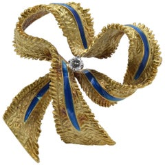 Tiffany & Co. Ribbon Brooch Diamond Blue Enamel 1960 Gold 18 Karat Textured