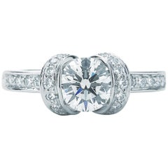 Tiffany & Co. Ribbon Engagement Ring .82 Carat Center IVS1
