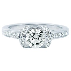 Tiffany & Co. Ribbon Engagement Ring with .72 Carat Round Centre in Platinum