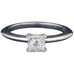 Tiffany & Co. Ring with .51 Carat E VS1 Princess Cut Centre in Platinum