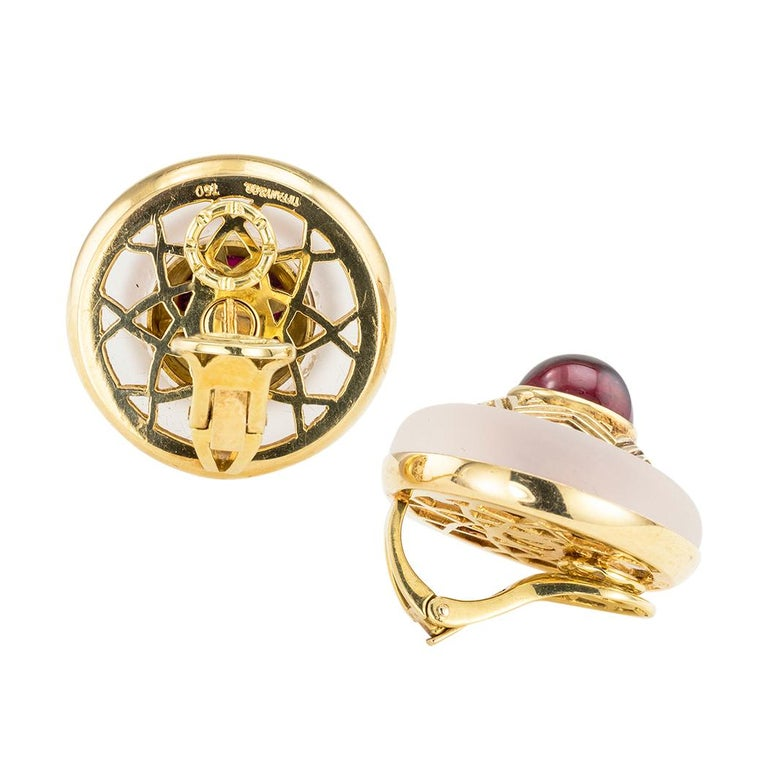 Contemporary Tiffany & Co. Rock Crystal Garnet Yellow Gold Clip On Earrings For Sale