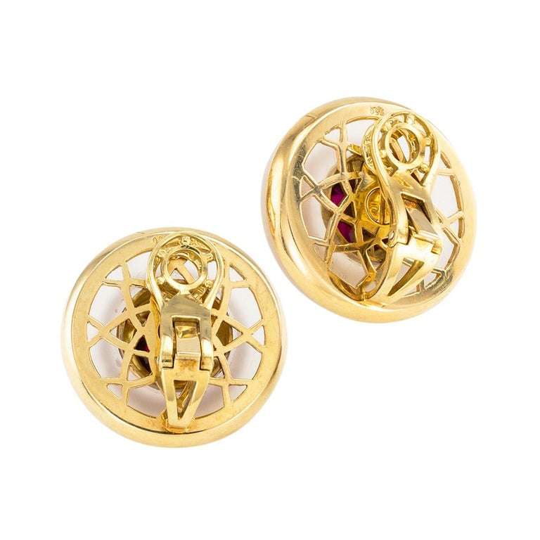 Cabochon Tiffany & Co. Rock Crystal Garnet Yellow Gold Clip On Earrings For Sale