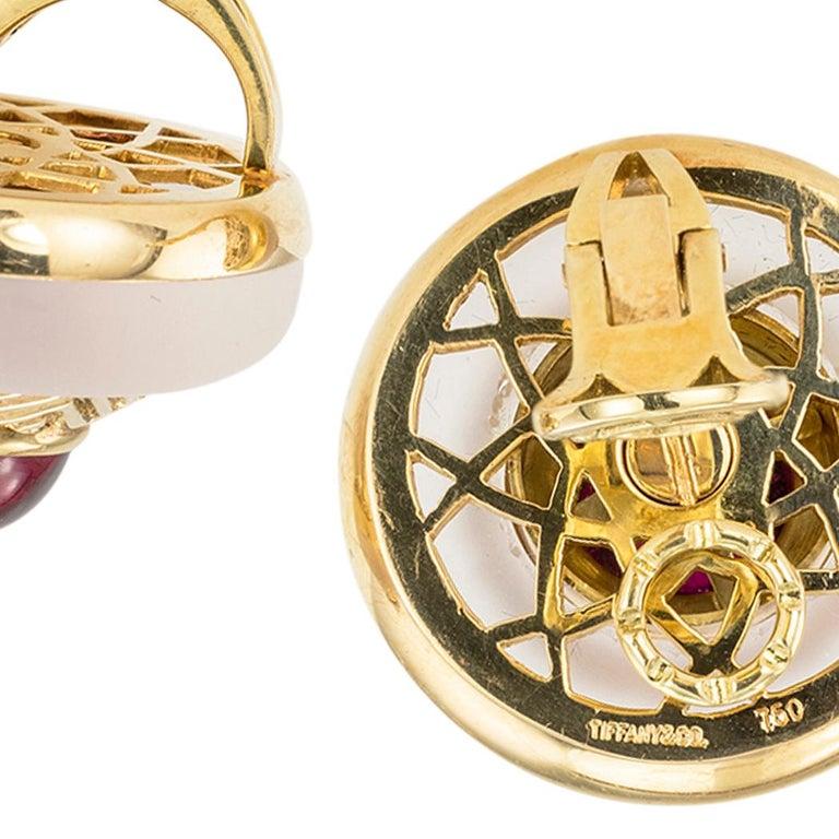 Women's Tiffany & Co. Rock Crystal Garnet Yellow Gold Clip On Earrings For Sale