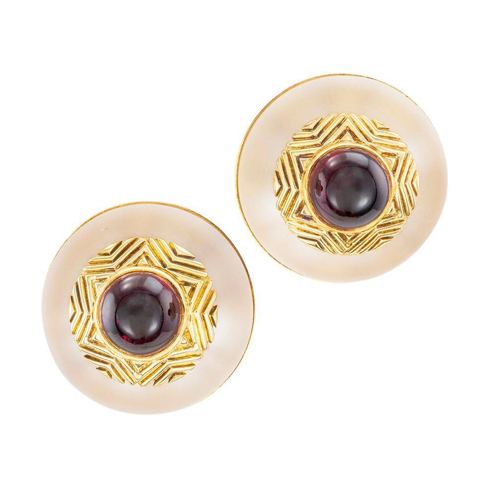Tiffany & Co. Rock Crystal Garnet Yellow Gold Clip On Earrings