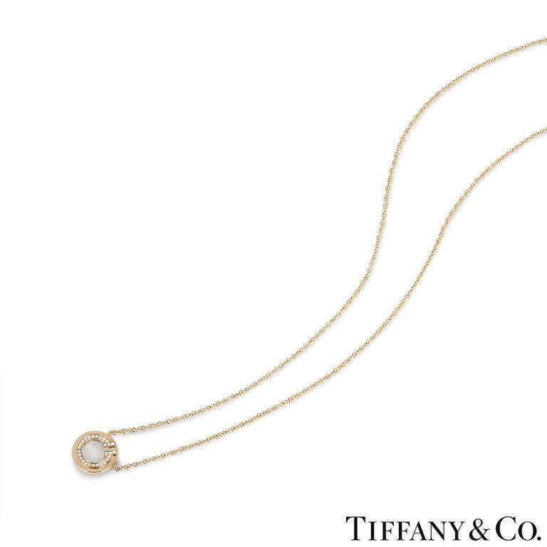 Round Cut Tiffany & Co. Rose Gold and Diamond Circle Tiffany T Pendant