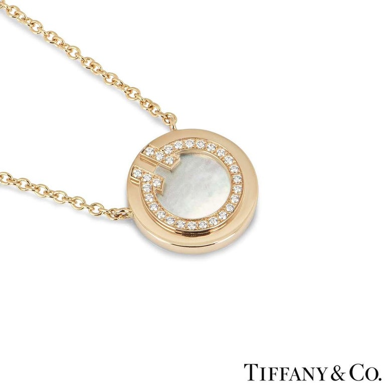 Tiffany & Co. Rose Gold and Diamond Circle Tiffany T Pendant In Excellent Condition In London, GB