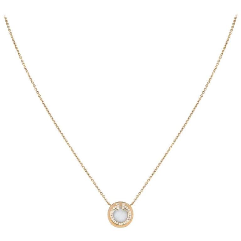 Tiffany & Co. Rose Gold and Diamond Circle Tiffany T Pendant