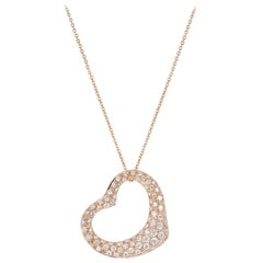Tiffany & Co. Rose Gold Diamond Elsa Peretti Heart Necklace 2.00 Carat