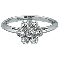 Tiffany & Co. Round Brilliant 0.30 Carat F VVS Diamond Flower Ring in Platinum