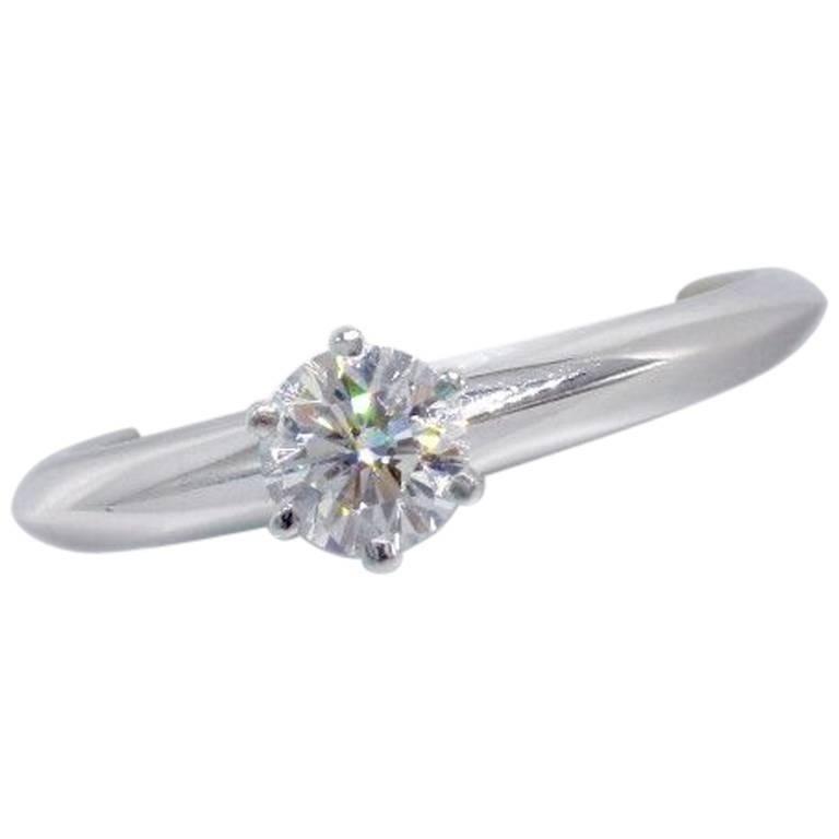 f5c8e23923c Tiffany   Co. Round Brilliant 0.40 Carat I VVS2 Diamond and Platinum Ring  For Sale