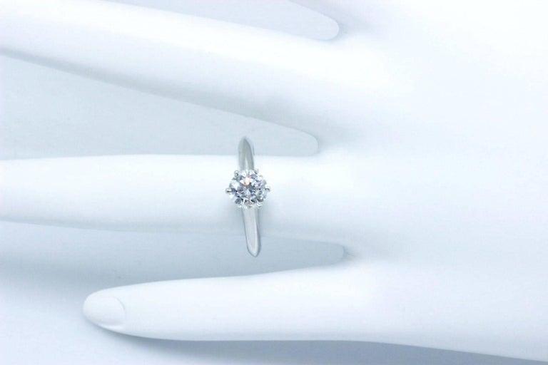 Tiffany & Co. Round Brilliant 0.70 Carat E VS1 Diamond Platinum Engagement Ring 4