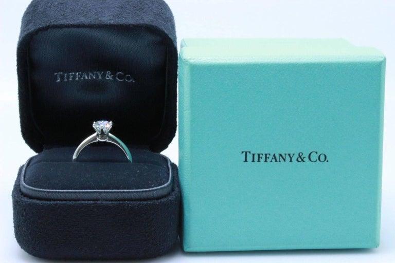 Tiffany & Co. Round Brilliant 0.70 Carat E VS1 Diamond Platinum Engagement Ring 5