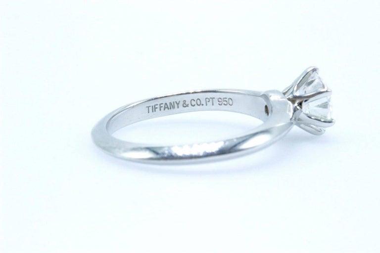 Modern Tiffany & Co. Round Brilliant 0.70 Carat E VS1 Diamond Platinum Engagement Ring