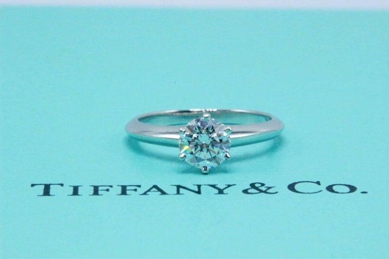 Round Cut Tiffany & Co. Round Brilliant 0.70 Carat E VS1 Diamond Platinum Engagement Ring