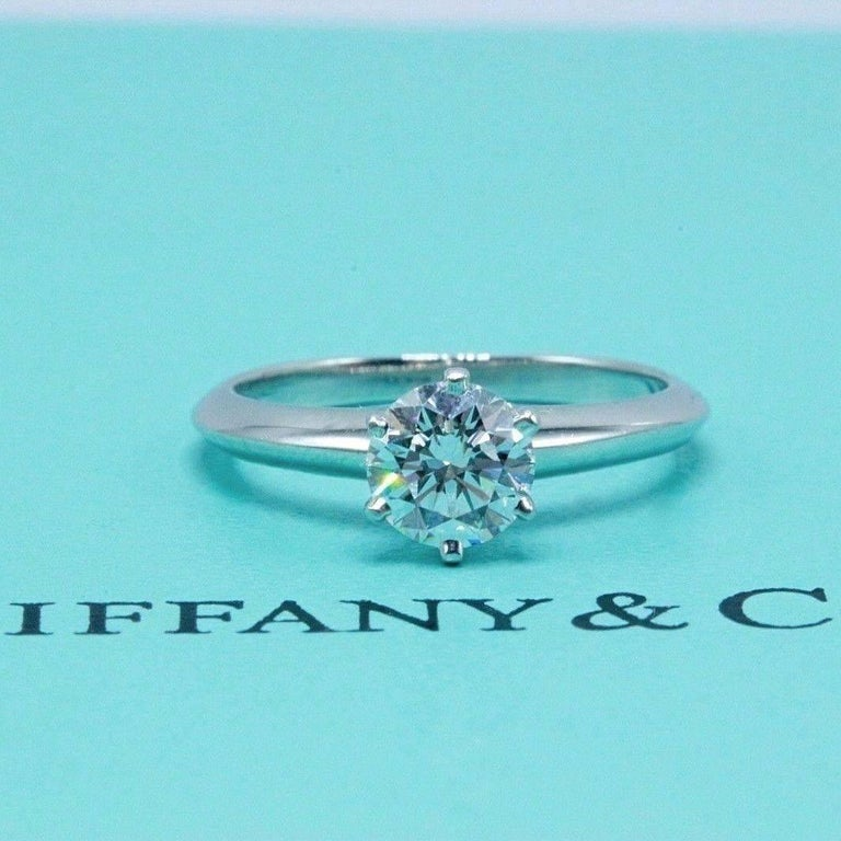 Tiffany & Co. Round Brilliant 0.70 Carat E VS1 Diamond Platinum Engagement Ring In Excellent Condition In San Diego, CA