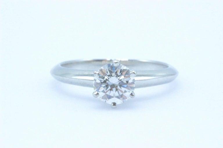 Women's Tiffany & Co. Round Brilliant 0.70 Carat E VS1 Diamond Platinum Engagement Ring