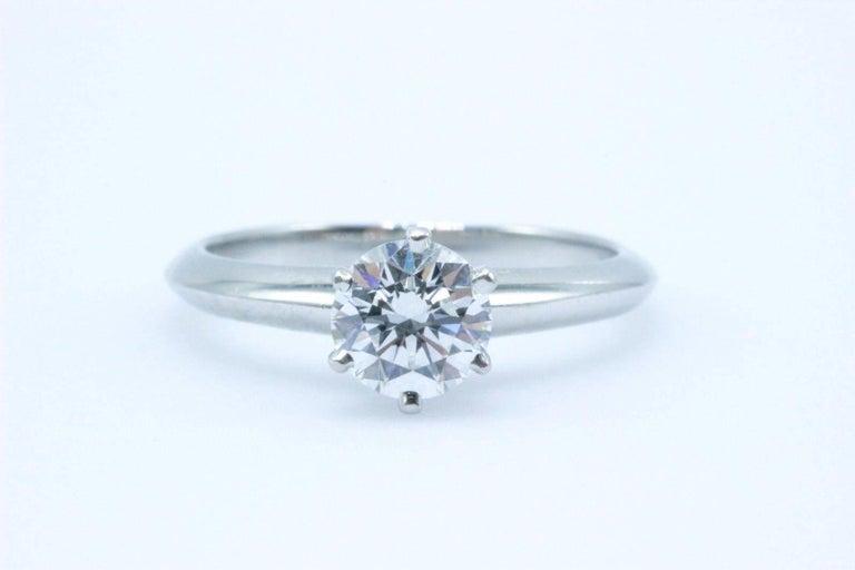 Tiffany & Co. Round Brilliant 0.70 Carat E VS1 Diamond Platinum Engagement Ring 1