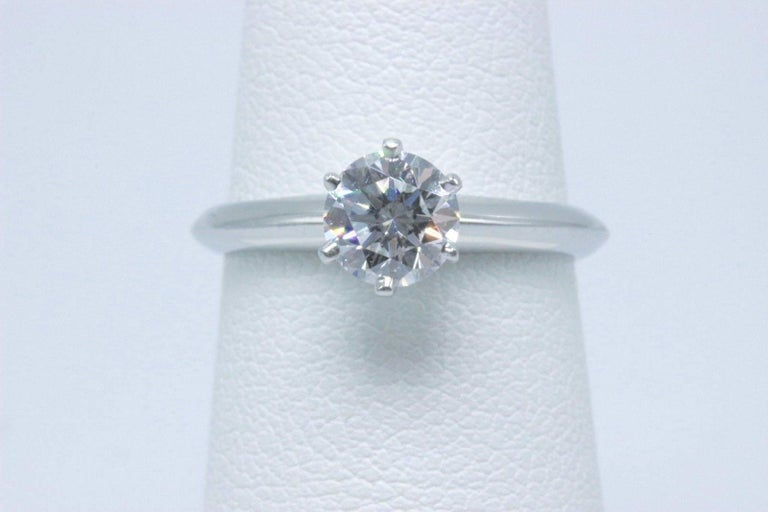 Tiffany & Co. Round Brilliant 0.70 Carat E VS1 Diamond Platinum Engagement Ring 2