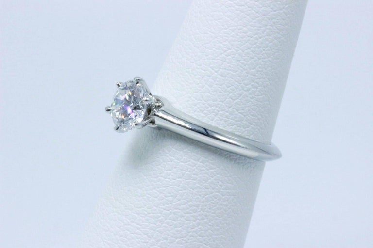 Tiffany & Co. Round Brilliant 0.70 Carat E VS1 Diamond Platinum Engagement Ring 3