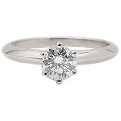 Tiffany & Co. Round Brilliant 0.70 cts H VVS2 Diamond Platinum Solitaire Ring