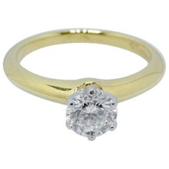 Tiffany & Co. Round Brilliant 0.80 Carat Diamond Engagement Ring 18 Karat Gold