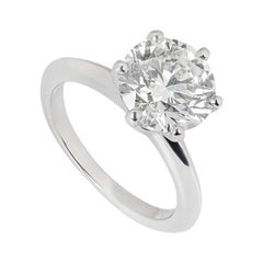 Tiffany & Co. Round Brilliant Cut Diamond Ring 2.61 Carat GIA Certified