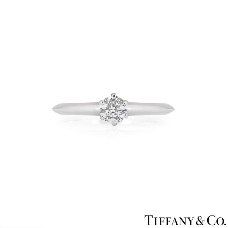 Round Cut Tiffany & Co. Round Brilliant Cut Diamond Solitaire Engagement Ring 0.32 Carat For Sale